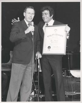 Mayor William Norrie presenting Singer Tony Bennett with Honourary Citizenship award