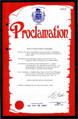 Proclamation - World Hockey Week in Winnipeg