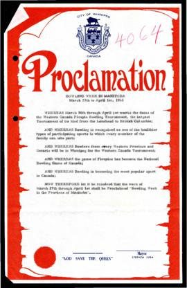 Proclamation - Bowling Week In Manitoba