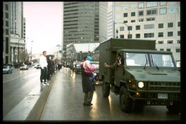 1997 flood - Portage Avenue - military parade