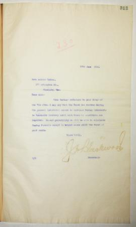 J.H. Blackwood to Rev. Andrew Roddan regarding Sunday interments in Brookside cemetery