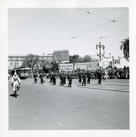 Winnipeg's 75th Anniversary parade - marching band and street car