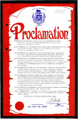 Proclamation - Manitoba Tourist Association Days
