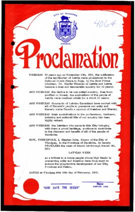Proclamation - Latvian Week
