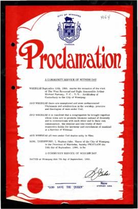 Proclamation - A Community Service of Witness Day