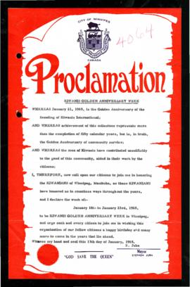Proclamation - Kiwanis Golden Anniversary Week