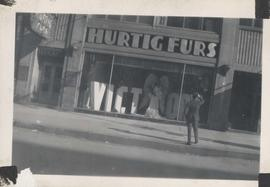 VE Day - Hurtig Furs store decorated with victory sign