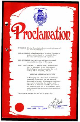 "Proclamation - ""Mental Retardation Week"""