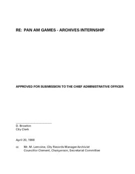 Report - Pan Am Games Archives Internship
