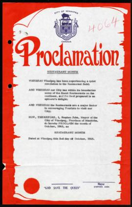 Proclamation - Restaurant Month