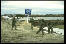 Mouth of the floodway (south end) - military personnel