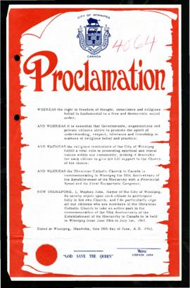 Proclamation - Ukrainian Catholic Church 50th Anniversary