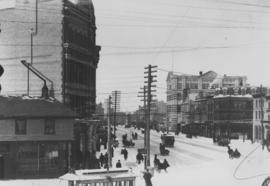 Winnipeg Street Railway on Portage Avenue in front of Merchants Hotel