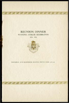 Program for Winnipeg's 50 year Jubilee reunion dinner