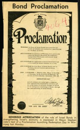Proclamation - Redemption Day [Newspaper clipping]