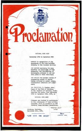 Proclamation - National Home Week