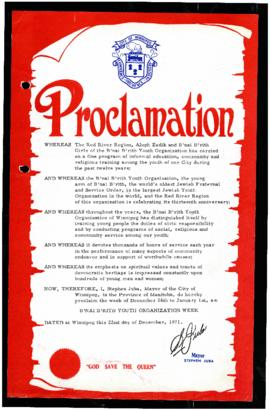 Proclamation - B'nai B'rith Youth Organization Week
