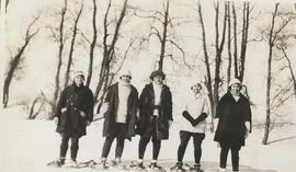 Group of women snowshoeing at River Park