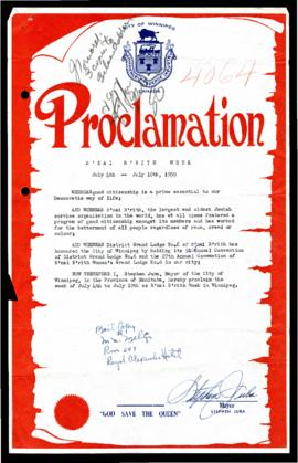 Proclamation - B'nai B'rith Week